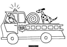 fire truck fireman dog printable coloring coloring sparky