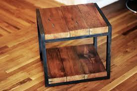 reclaimed wood end table custom reclaimed wood steel side table by barreto studios