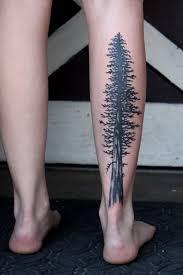 32 tree tattoos on leg