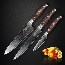 couteau de cuisine professionnel japonais sunnecko 3 pcs damas couteaux de cuisine ensemble japonais vg10