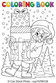 vector illustration coloring book santa claus topic 8 eps10
