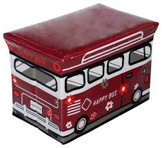 attractive red storage ottoman happy bus red rectangle foldable