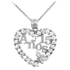 cubic zirconia heart necklace images Silver sweet 15 anos quinceanera pendant necklace with cubic jpg