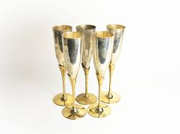vintage champagne glasses set of 5 vintage french metal champagne flutes glasses