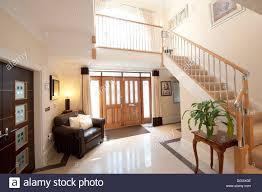 ultra modern house entrance vestibule hall marble floors stock