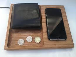 qi wireless phone charging station valet tray solid oak