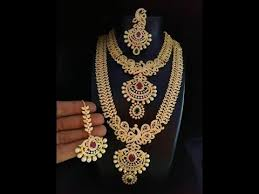 beautiful one gram gold necklace and haram