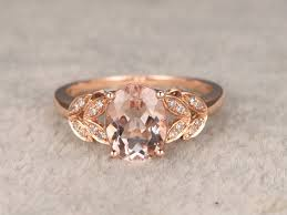 leaf engagement ring 6x8mm oval morganite engagement ring diamond wedding ring 14k