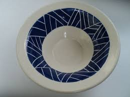 hand crafted white and blue sgraffito bowl by mark campbell