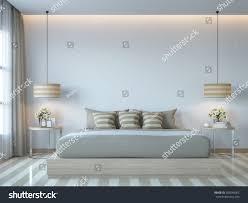 modern white bedroom minimal style 3d stock illustration 589245062