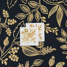 Gold Flowers Tattly Designy Temporary Tattoos U2014 Gold Floral By Rifle Paper Co