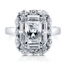 cubic zirconia halo engagement rings berricle silver radiant cz halo vintage style deco engagement