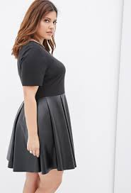 forever 21 plus size faux leather combo dress in black lyst