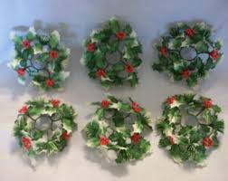 Candle Rings 6inch White Beaded Berry Wreath Candlering Candle Ring White Two