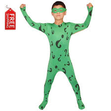 boys riddler costume kids superhero batman cosplay halloween