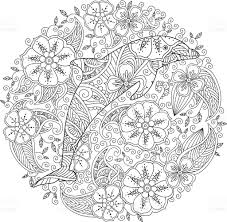 coloring page with dolphin in floral circle stock vector art