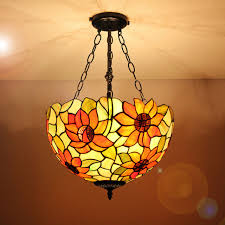 16 inch tiffany ls vintage sunflower pattern glass shade indoor