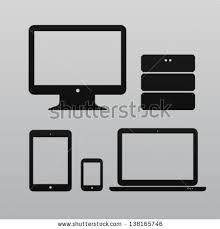 design pc monitor flat design ui device icons pc stock vector 138165746