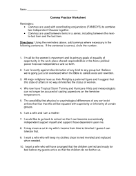 collection of solutions comma practice worksheets with summary