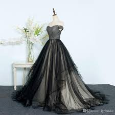 Ball Dresses Black Ball Gown Prom Dresses Off Shoulder Lace Up Tulle Evening