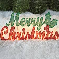 pre lit merry sign outdoor lighted