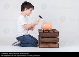 his and piggy bank boy his breaking piggy bank a royalty free stock photo
