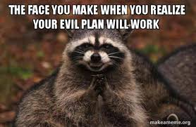 Evil Face Meme - the face you make when you realize your evil plan will work evil