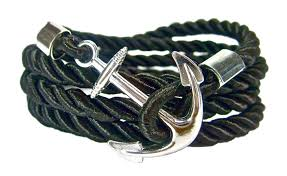 anchor bracelet black images Handmade men 39 s anchor bracelet in black silver geralin gioielli jpg