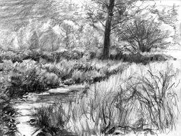 drawn scenic natural scenery pencil and in color drawn scenic