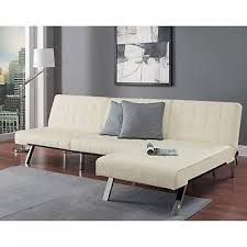 tufted faux leather futon convertible sectional couch sofa sleeper
