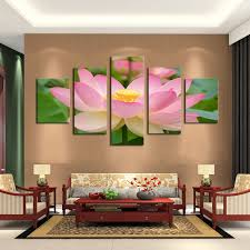 canvas decorations for home unframed 5 panels pink lotus flowers print painting modern canvas