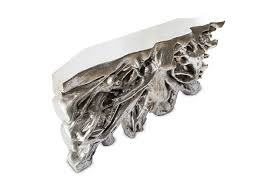 Silver Console Table Square Root Console Table Silver Leaf Modern Furnishings