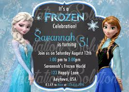 frozen elsa and anna birthday party invitation disney princess