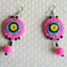 felt earrings felt earrings crafted from sewn felt circles in south africa