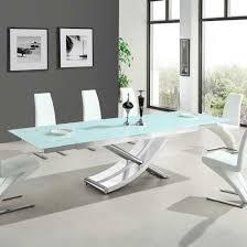 White Glass Extending Dining Table White Glass Extending Dining Table Modern White Glass Extending