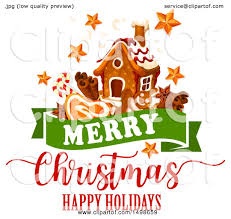 clipart of a merry happy holidays greeting with a