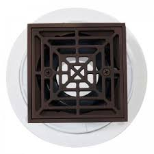 noble pvc shower drain with square rubbed bronze strainer