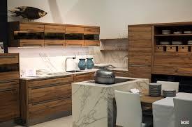 Fish Tiles Kitchen Wooden Island With White Marble Countertop Ceramic Tile Backsplash