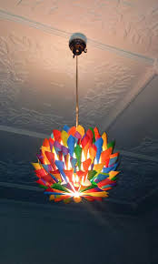 Kid Light Fixtures Rainbow Multi Colored Paper Cone Pendant Light Hanging