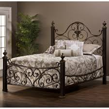 mikelson mixed wood u0026 iron bed by hillsdale furniture wrought