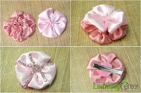 How To Make Flower Hair Clips - tutorial on making layered pink ribbon flower hair clips with