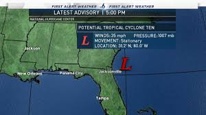 New Orleans Weather Map by New Potential Tropical Cyclone Develops Off The S E Coast Nbc 6