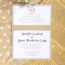 Classic Wedding Invitations Affordable Glitter Ribbon Layered Wedding Invitations Ewls027 As