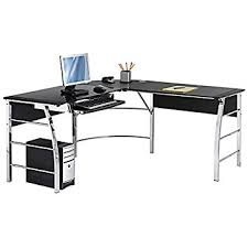 Black And Chrome Computer Desk Realspace Mezza L Shaped Glass Computer Desk Black