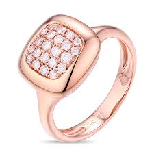 gold square rings images Pave diamond rose gold square ring kravit jewelers png