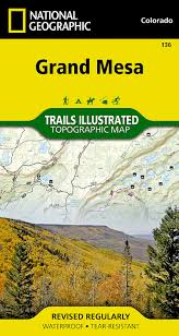 Colorado Elevation Map by Grand Mesa National Geographic Trails Illustrated Map National
