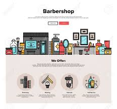one page web design template with thin line icons of barbershop