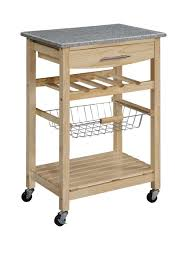 linon natural kitchen cart with granite top 44037nat 01 kd u