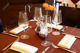 image of fine table setting in restaurant stock photo picture and