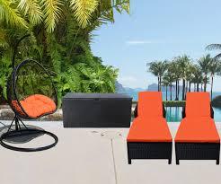 4 pc outdoor patio furniture black orange 2 hanging rattan 2 person